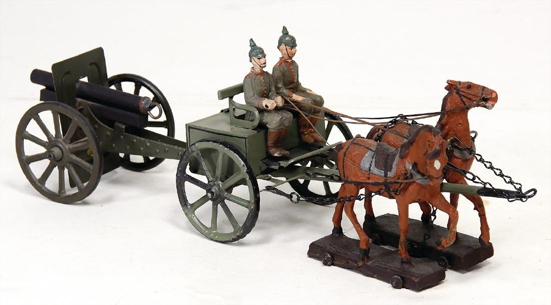 LINEOL First World War, horse and cart with 2 draught