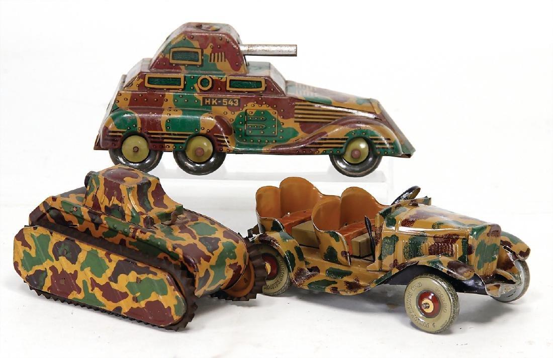 3 pieces, sheet metal, tank car, HK543, lithographed