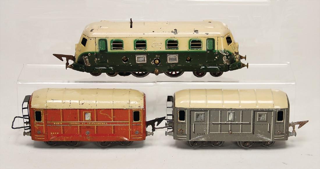 JEP 3 pieces, France, track 0, railcar 2B2, heavy tin