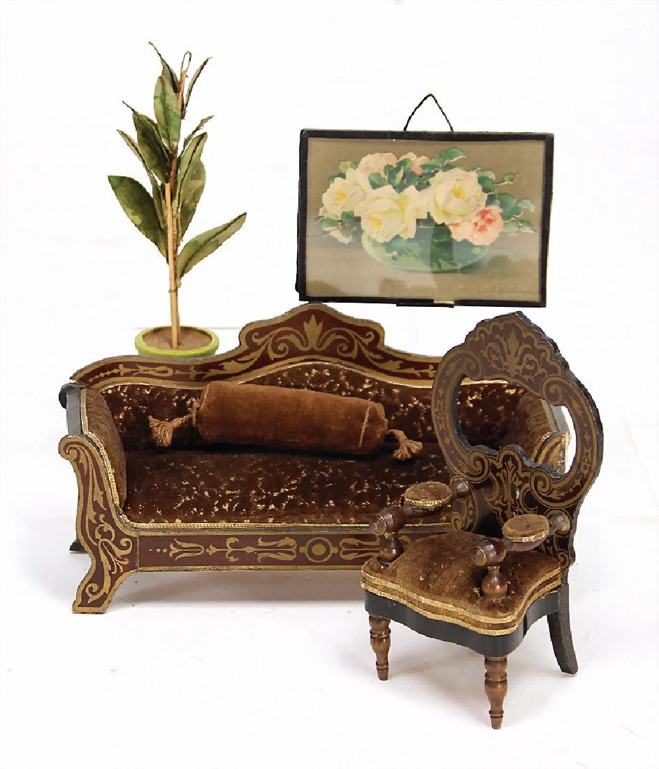 BOULLE 2 pieces, sofa, small patches with flaws, 19 cm,
