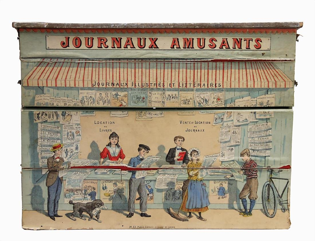 Journaux Amusants lottery, fairground stall, France,