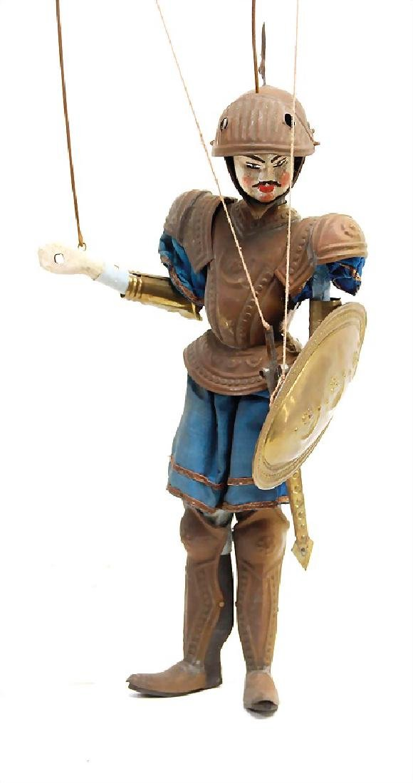 theatre doll, knight, wood with sheet metal armor,