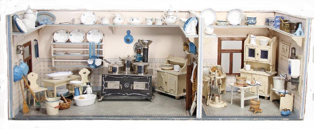 dollhouse kitchen, around 1900, width: 1.21 m, height: