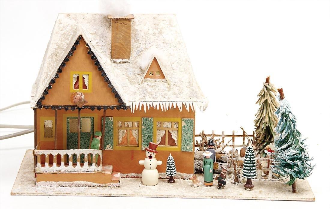 Christmas house, papier mâché, with