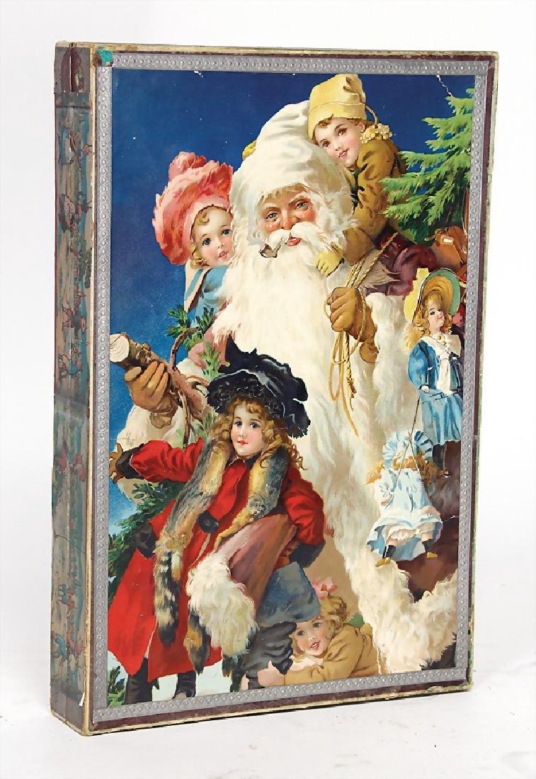 Christmas box, Santa Claus with child, probably around