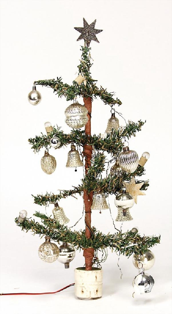 Christmas tree with small mirror glass baubles, height:
