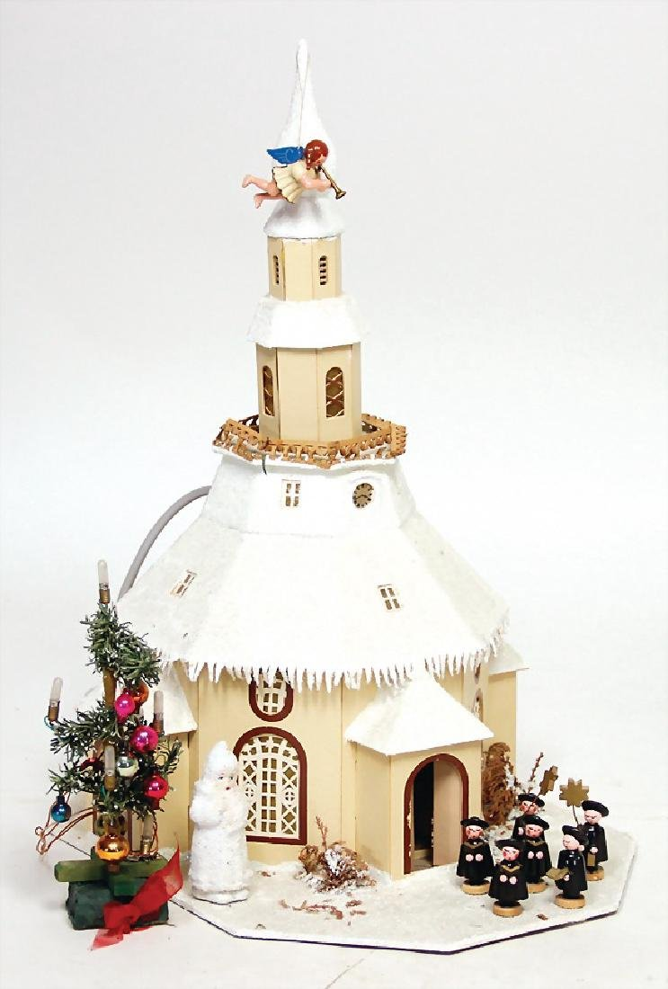paper Christmas church with power connector, flocked
