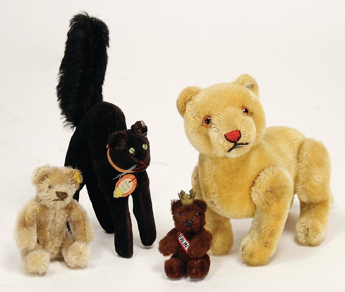 STEIFF mixed lot with 4 pieces, 1x black tom cat, with
