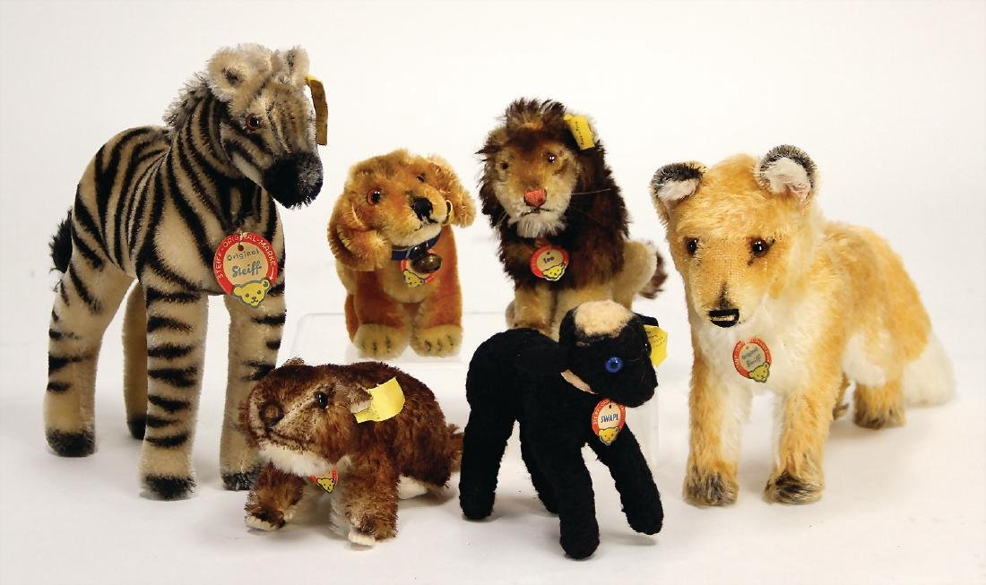 STEIFF mixed lot with 6 pieces, 50/'60s, zebra,