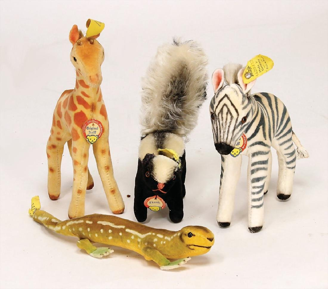 STEIFF mixed lot with 4 pieces, 1x zebra, 12 cm, with