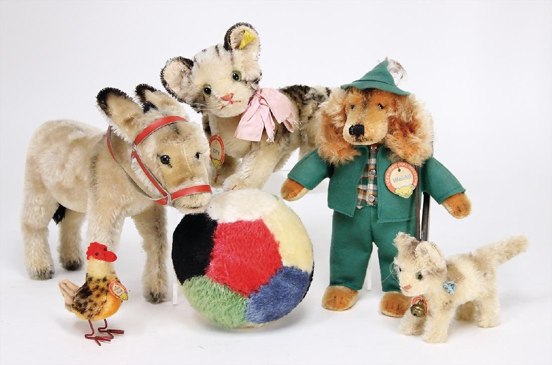 STEIFF mixed lot with 6 pieces, mohair ball, 12 cm,