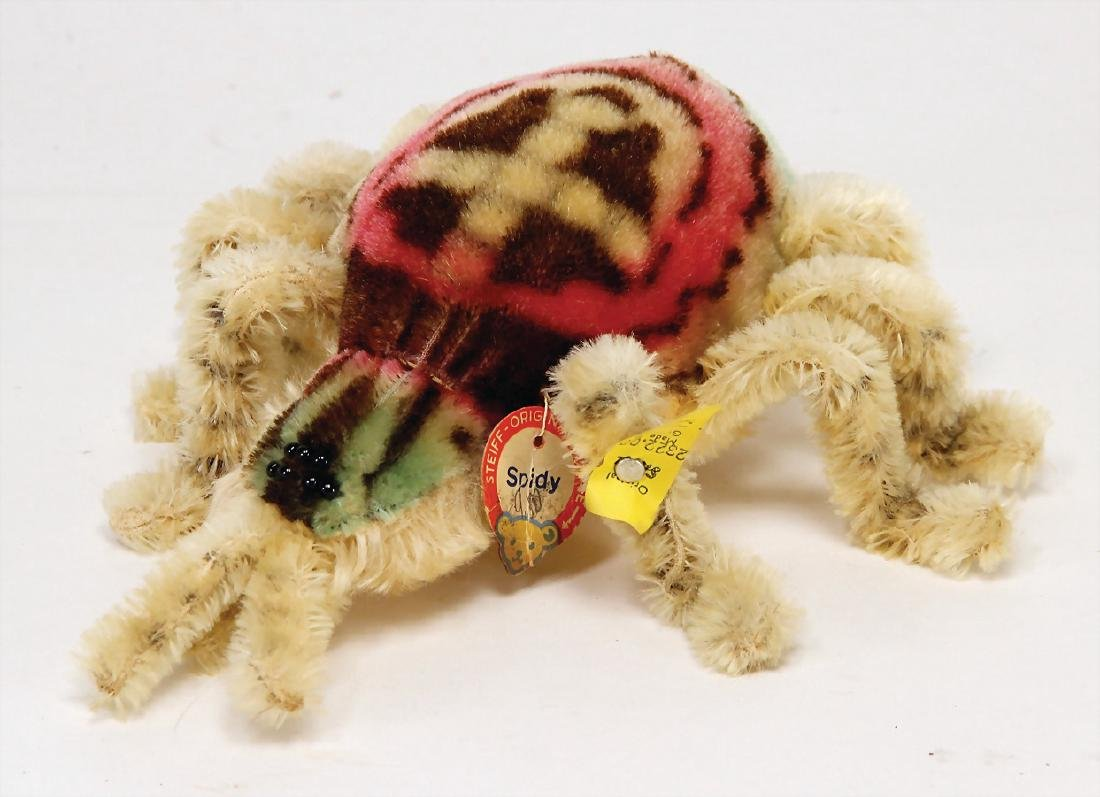 STEIFF spider, Spidy, with button, chest label and
