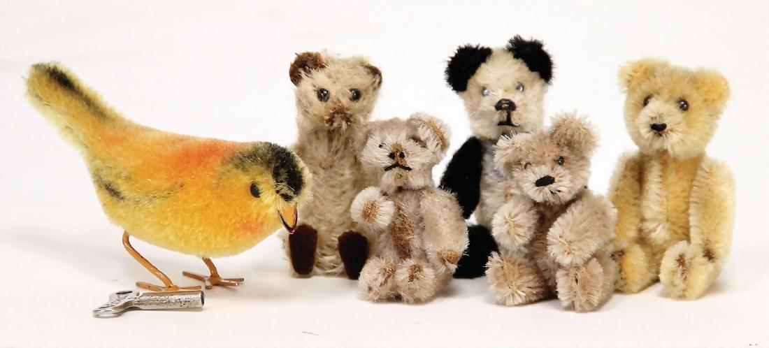SCHUCO 6 pieces, 5 bears, 1 bird, 7 - 9 cm, mostly in