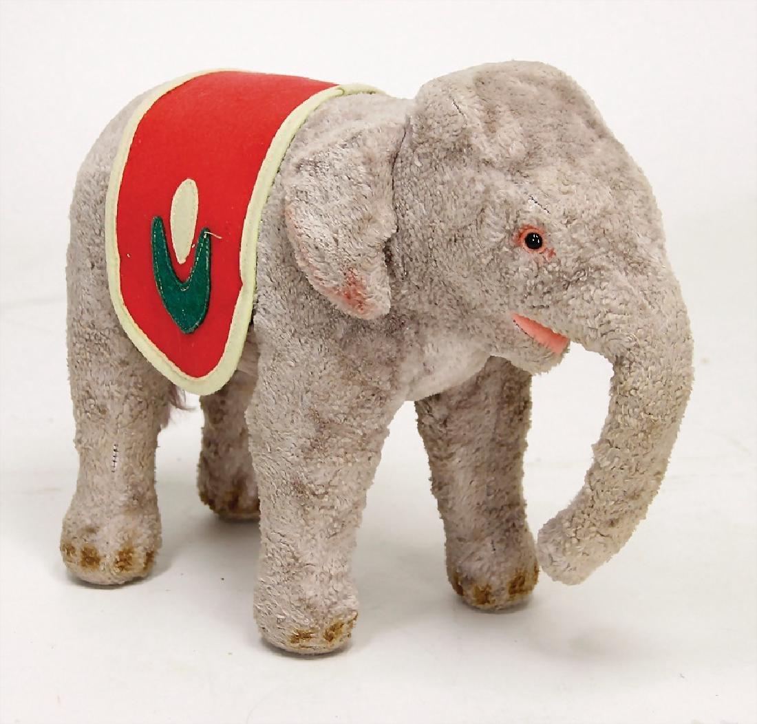 STEIFF elephant, syntetic silk plush, light grey,