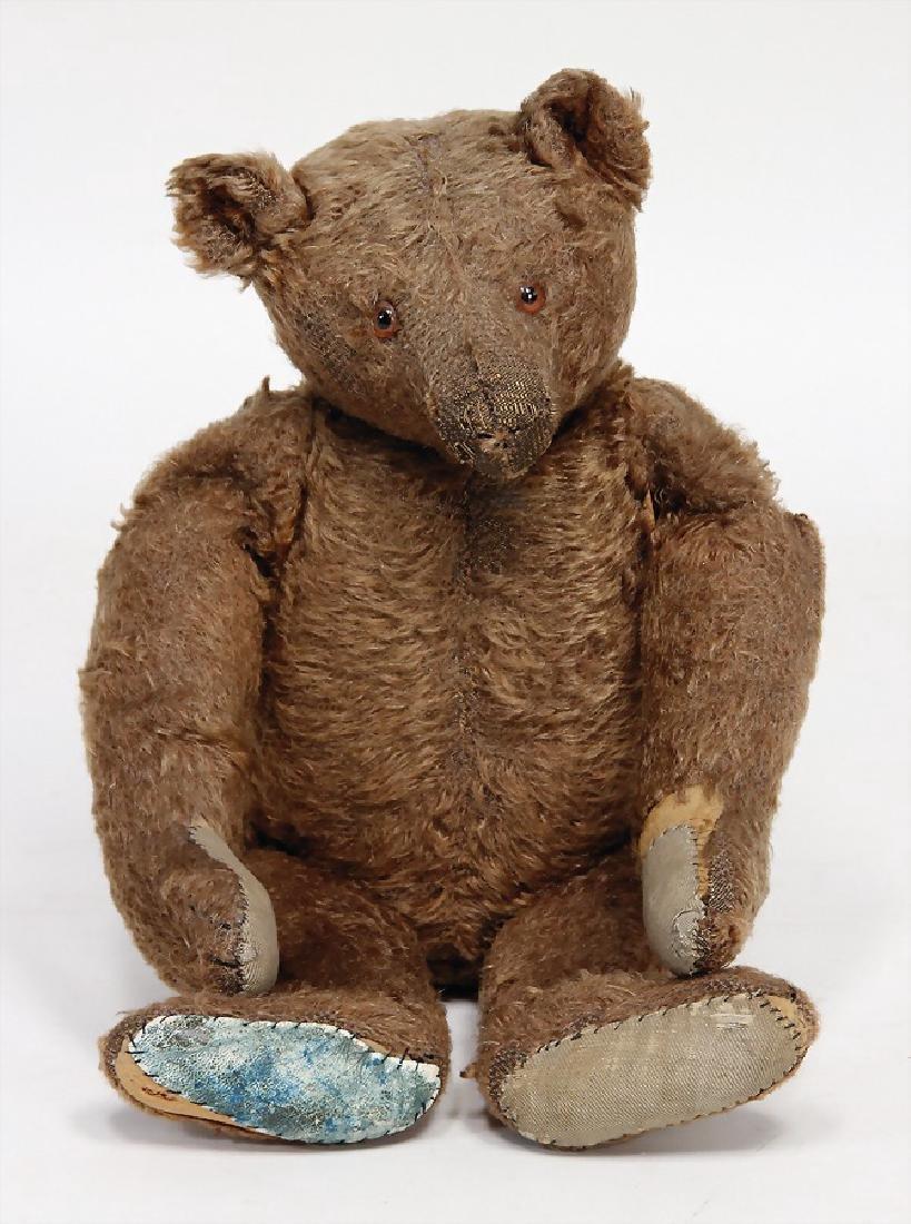 STEIFF bear, c. 1925, dark-brown mohair, long snaped