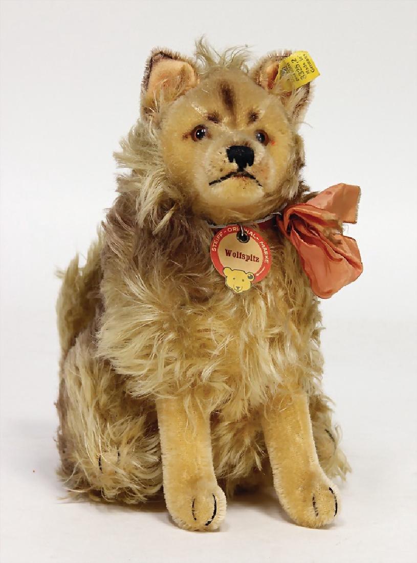STEIFF wool spitz, dog, sitting, complete, No. 3325.2,