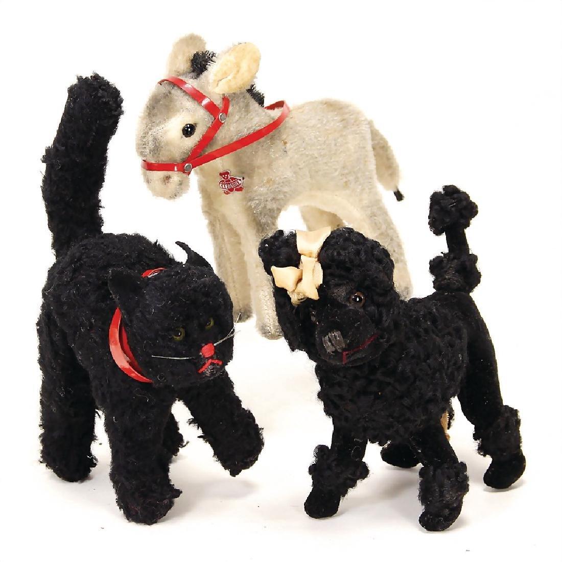 3 cuddly toys, poodle, England, height: 14 cm, donkey,