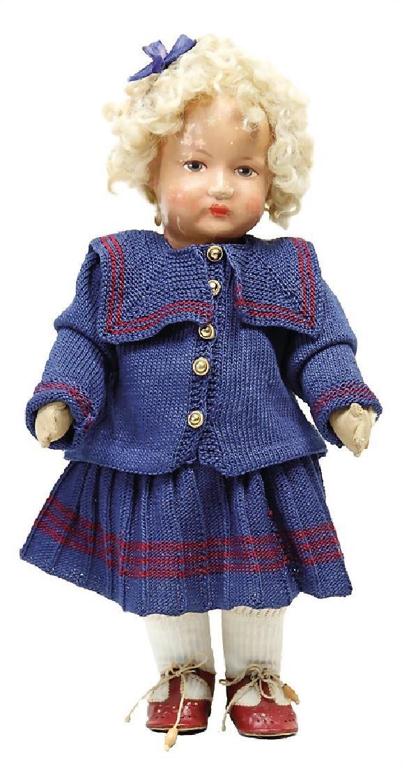 BING fabric doll, fabric head, swivel head, grey