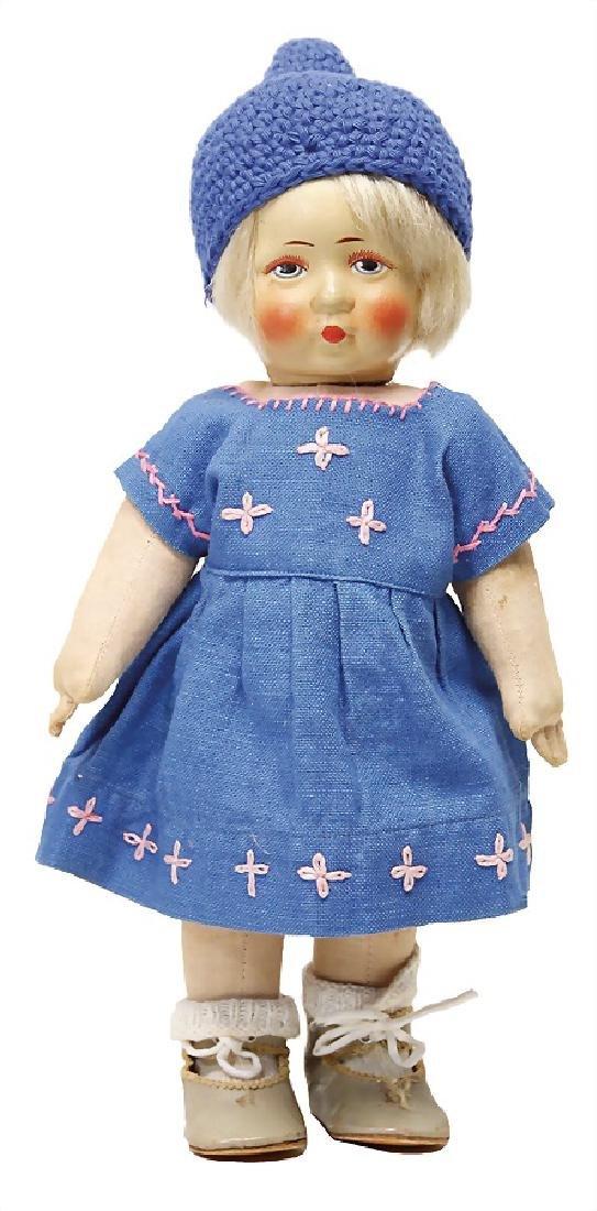 BING fabric doll, girl, swivel head, painted, blue