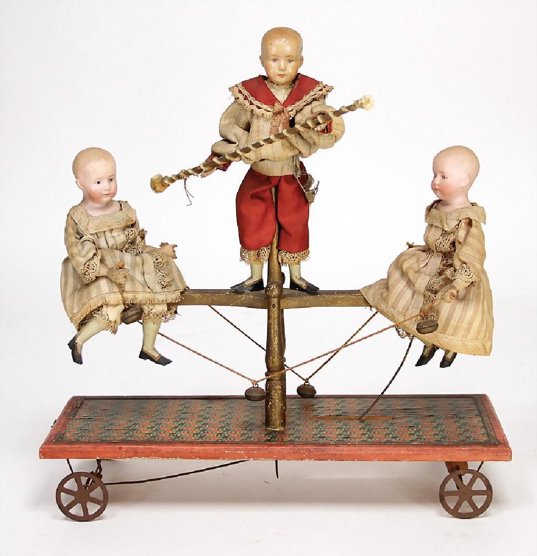unusual pull machine, 2x bisque porcelain head dolls,