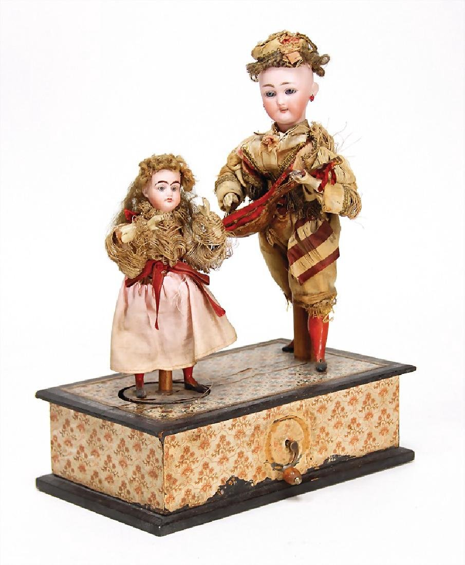 French doll machine, with music mechanism, a bisque