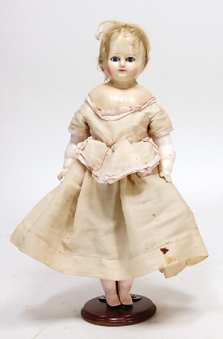 wax coated papier mâché doll, 42 cm,