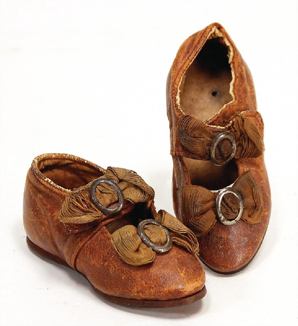 a pair of French doll boots, brown leather, silk