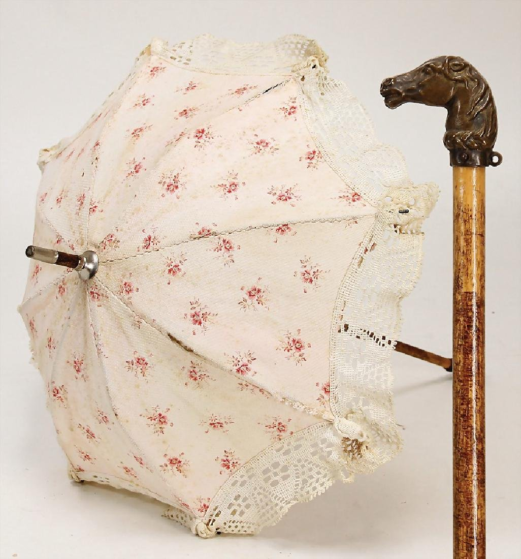 JUMEAU umbrella for stroll, handle with horse head,