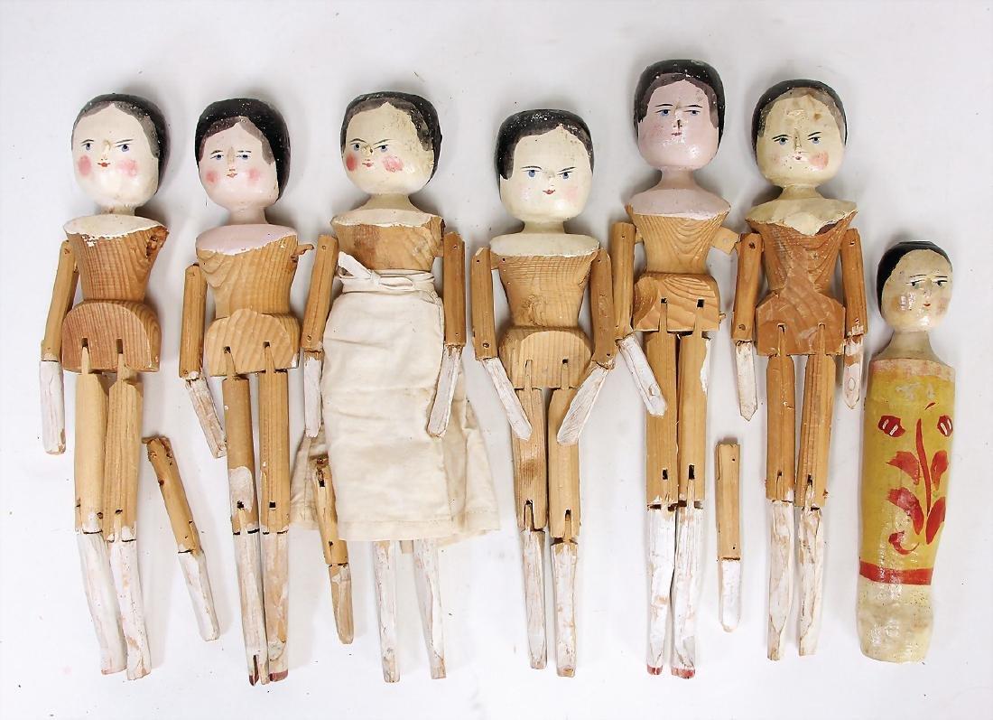 GRÖDNERTAL 6 jointed wooden dolls, blue painted
