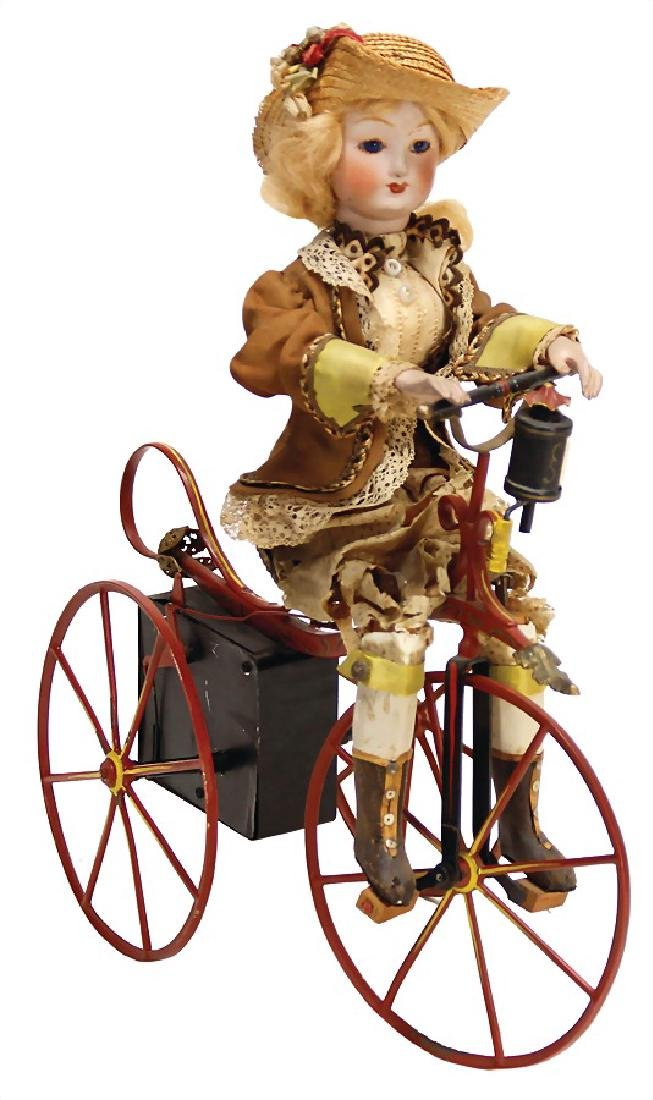 lady on tricycle, height: 30 cm, c. 1890, wood/wire
