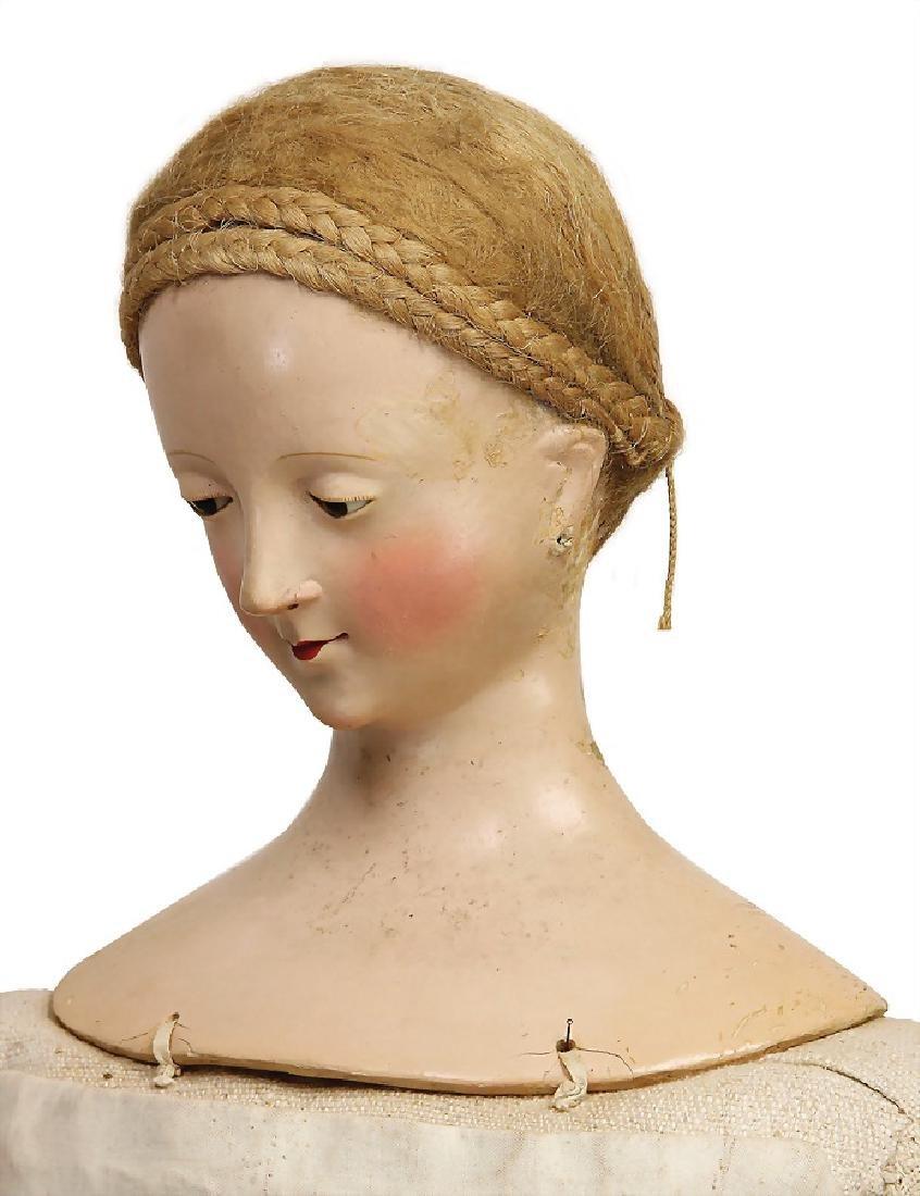 early papier mâché shoulder headed doll, - 2