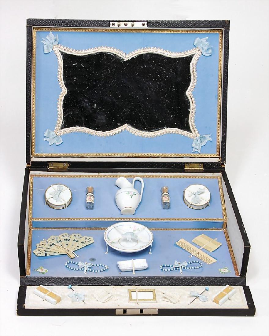toilets casket, France, around 1900, jug, washbasin and
