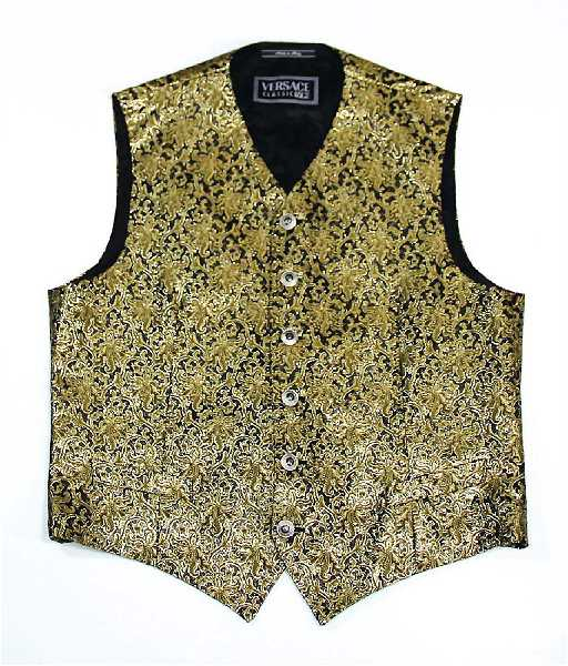 versace herren weste gr l goldenes brokat muster - Versace Muster