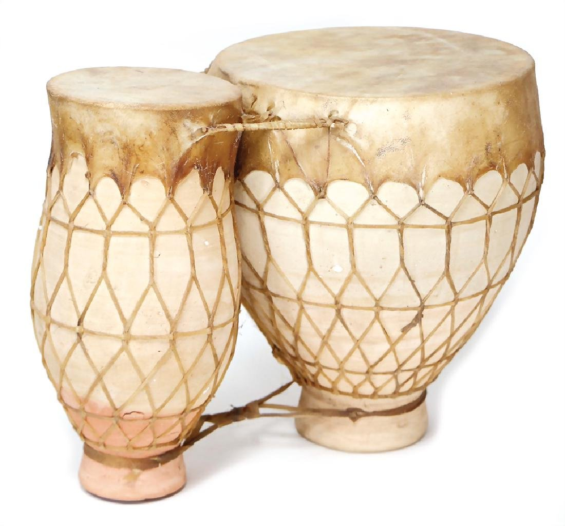 gongo, Morocco, double drum made of clay, with tied on