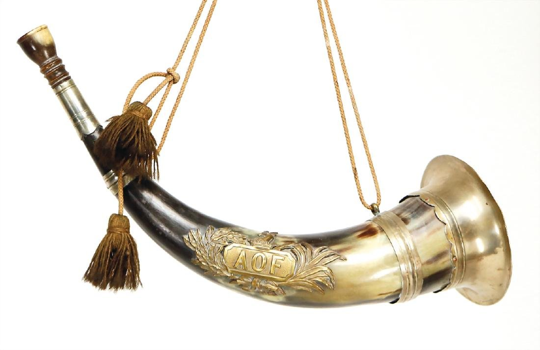 hunting horn, nickel-plated metal pieces, ornament: