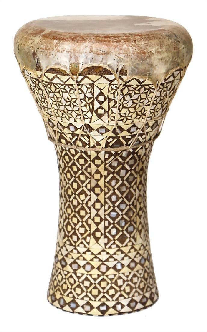 Darabukke, big goblet drum with inlaid work, covered