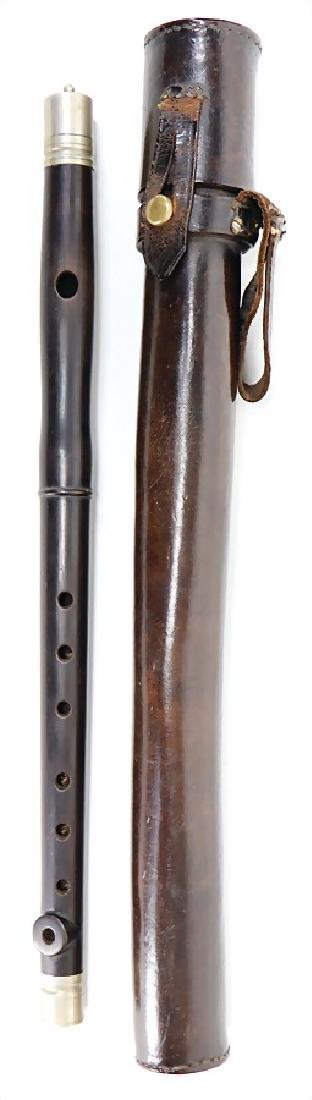 flute in a leather quiver, wood with small tears, 37.4