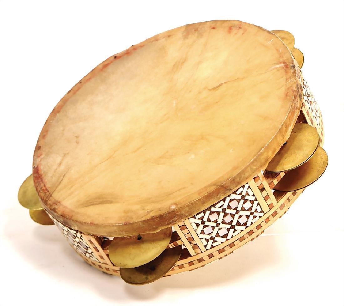 "timbrel ""Rek"", Cairo, wood inlay, stone, pearlescent,"