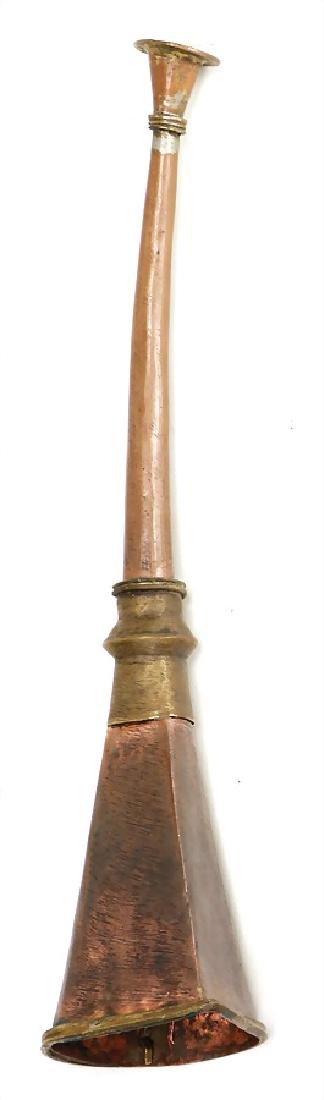 2 pieces, short trimpet, Tibet, copper, brass, 27 cm