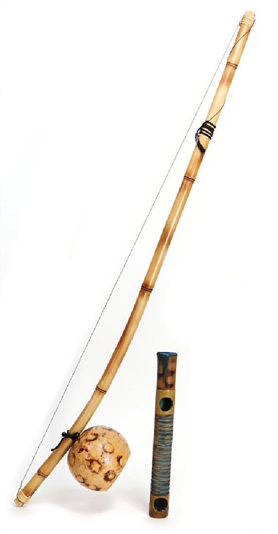 2 Copoeira-musical instruments, berimbau (bow),