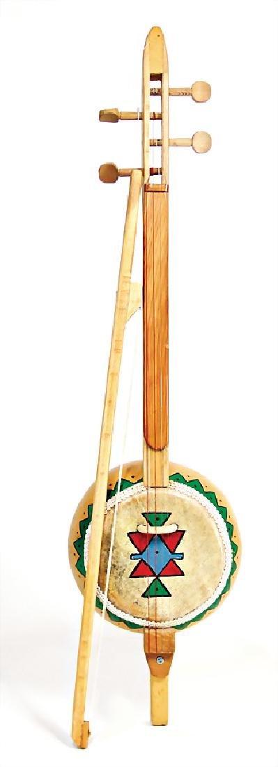 gourd violin (pumpkin gourd violin) with bow, 4