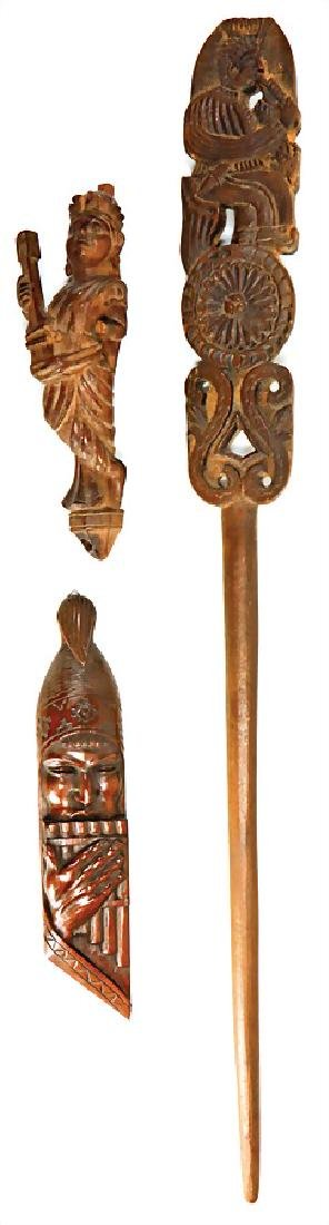 3-part, carved wood , Middle Eastern figures that are
