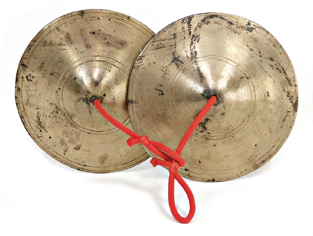 small cymbal, a pair of cymbals, brass, inside