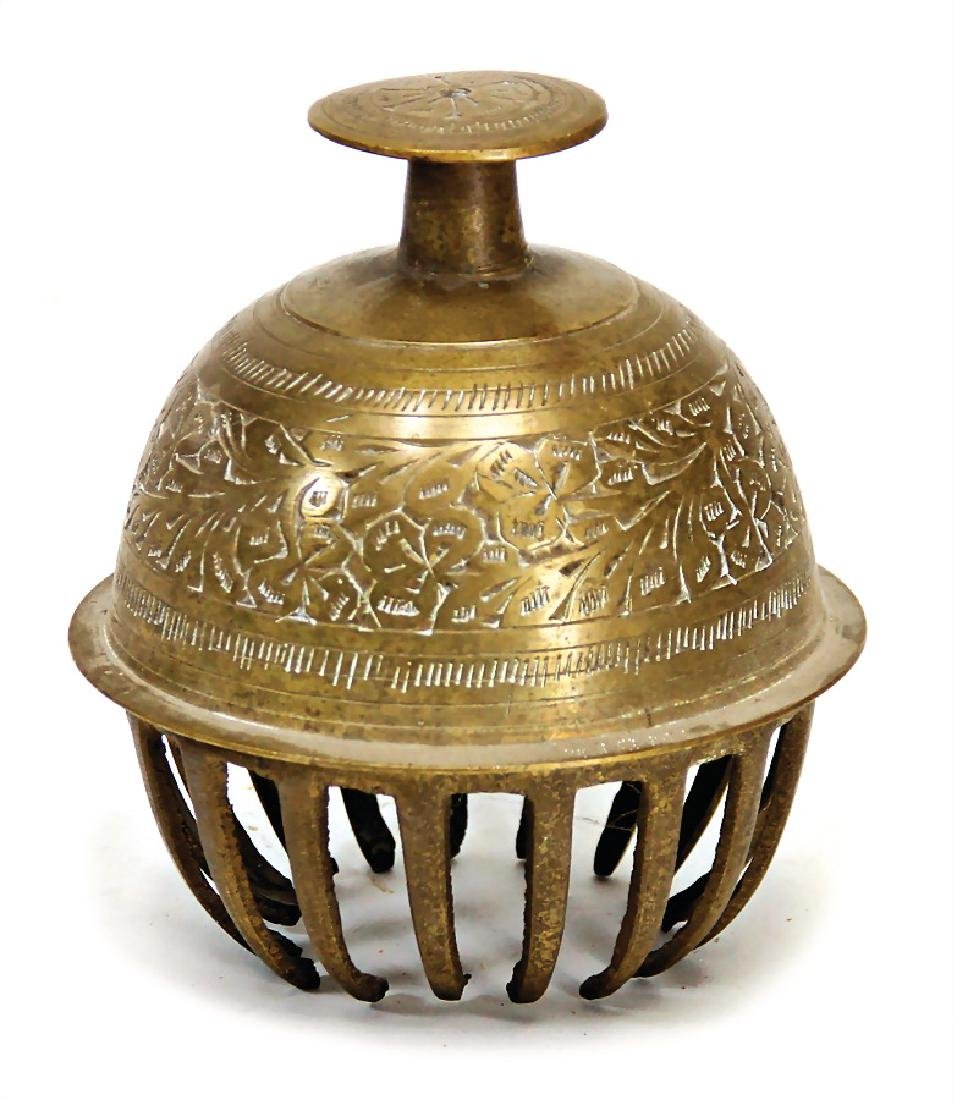 bell with claws, brass, chased, India, without clapper,