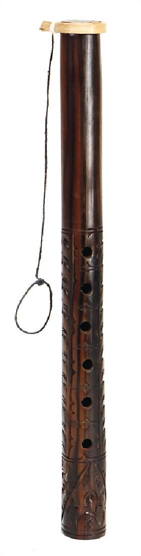 ring flute, Bali, ebony carved, 32.2 cm, 6 pitch holes,