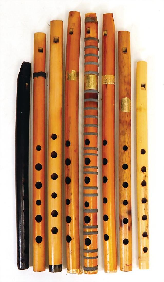 8 bamboo reed-pipes, all with mouth piece #586#