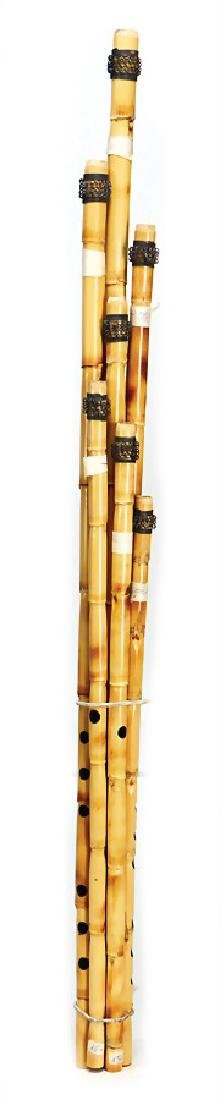 mixed lot with 10 pieces, flutes, wood and bamboo,