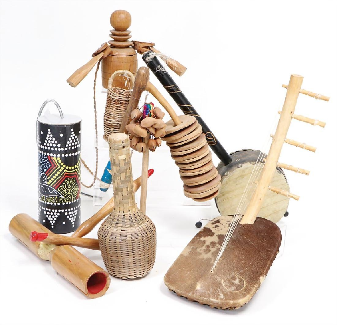 mixed lot of  percussion instrument and small drums,