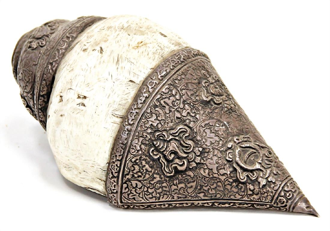 conch shell horn with silver ornaments, South India,