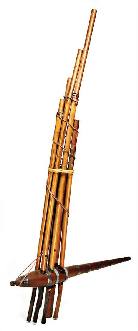 Laos, mouth organ, Hmong-tribe, bamboo, wood, 93 cm